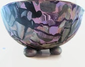 Trinket Bowl, Ring Dish, Jewelry Dish, Polymer Clay in Shades of Purple, Lavender, Silver and Gold