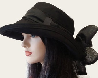 Scarlett Cotton Sun Hat in Black with Wide Brim with long black removable scarf and belt loops in the hat