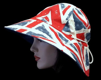 Reversible Wide Brim Sun Hat celebrating Union Jack with adjust fit plus chinstrap for boating/convertibles/windy days