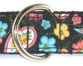 1 inch Paisley martingale collar, floral, daisies, colorful, spring, summer, girl, martingale dog collar--Paisley-Multi-Black