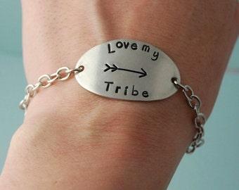 Love My Tribe Bracelet / Pewter Bracelet / Adjustable Bracelet