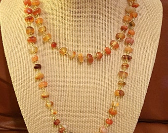 Red Agate Wire-Wrapped Necklace on 14k Gold