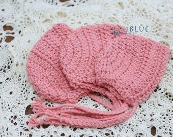 Newborn Baby, Girl Bonnet, Pink Warm, Stretch Crochet, Basic Style, Photo Prop,