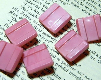 Vintage Pink Glass Buttons - Square with Grooves-Shanks Placed to Sew On the Diagonal - Set of 6