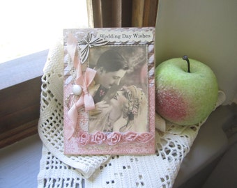 Handmade Wedding Card - Vintage Couple Wedding Card - Victorian Wedding Card