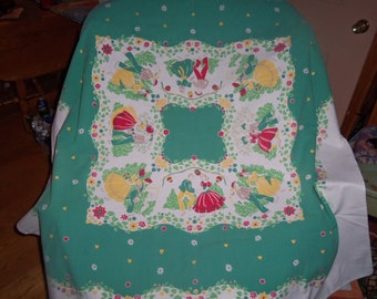 Vintage Tablecloth Belles and Gents hearts Flowers Leacock roses Cottage ex