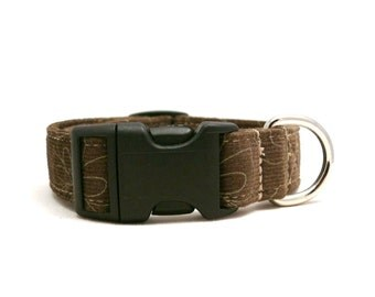 Forest thoughts -- forest green/brown corduroy adjustable XS / S / puppy dog collar