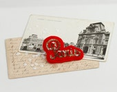 PARIS French Red Felt Brooch