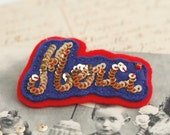 MERCI French Gold Navy Blue Red Felt Brooch