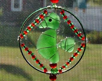 Sea Glass  Christmas Ornament  or Suncatcher with a Seahorse Design