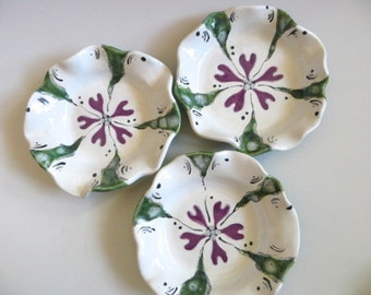 Bowl, flower dish, jewelry holder, candle tray,  White, Purple, Green Glaze, handmade pottery, In Stock