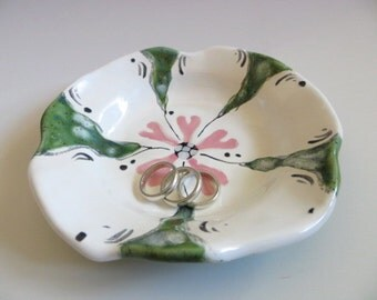 Bowl, flower dish, jewelry holder, candle tray,  White, Pink, Green Glaze, handmade pottery, In Stock