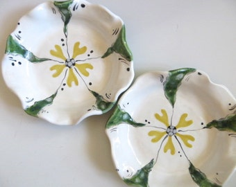 ring holder,  jewelry bowl, floral candle tray,  White, Yellow, Green Glaze, handmade pottery, In Stock