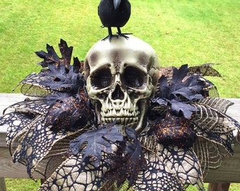 SALE - Skull Raven Crow - Fall Halloween Centerpiece