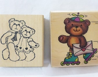 Rubber stampede rubber stamp bear on skates couple lot of 2