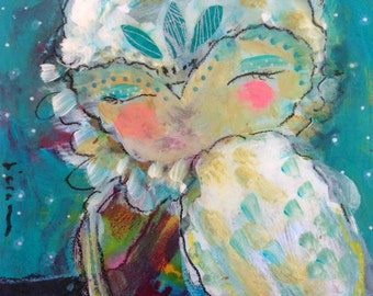 Telling Heart- a Mixed Media Painting by Juliette Crane