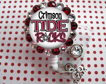 Crimson Tide Retractable ID Badge Holder, Id Badge Reels, ID Card Holder, with Swarovski Elements with Charm MULTI Choice