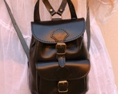 Handmade leather mini backpack in black