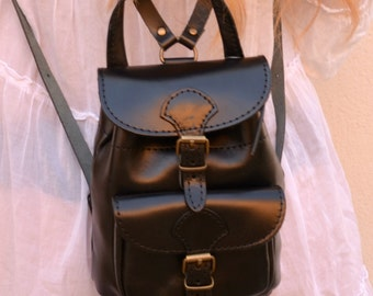 Handmade leather mini backpack in black