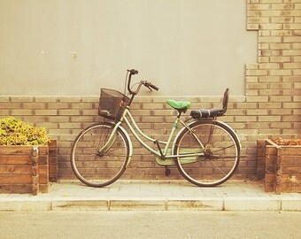 Green Bicycle Photograph, Bike photograph, Beijing China, City street, architecture photo, retro, pastel vintage style, Travel photography