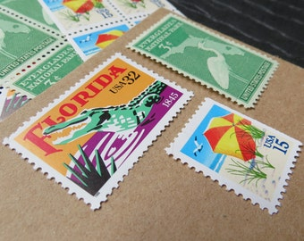 Florida Sunshine .. UNused US Vintage Postage Stamps  .. post 5 letters