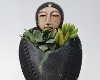 ceramic wall planter figurative garden art sculptural plant holder Buddha