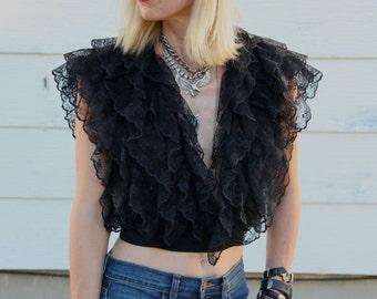 70's Black Lace Wrap Blouse