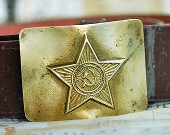 Soviet military faux leather belt with a brass buckle, coolvintage, buckle up dress, accessory, 2018