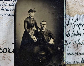 tintype photos of young couples...  c. 1800 antique photo...  photography... P2-3 L