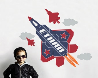 Fighter Jet Wall Decal Airplane Name Sticker Military USAF F-22 Raptor Personalized Kids Plane Aviator Room Theme