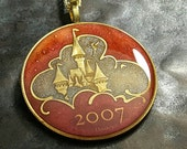 Disneyland Coin Pendant - Sleeping Beauty Castle - Hand Painted
