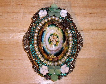 Antique Floral Emerald Pearl Art Bubble Cameo Pin Brooch Pendant OOAK By Caroline Erbsland Signed