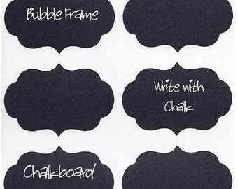 "On SALE- Chalkboard Labels ""Teenie"" Bubble Frame Vinyl Chalk Labels(tm)  - 12 - 2 x 1.5 inch"