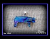 """Multi Colored Dichoic Glass Show Pig 1.75"""" Wide"""