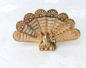 Miniature Brass Peacock Fan Fireplace Screen