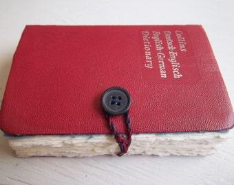 "pocket journal: ""German Gem Dictionary"", re-purposed vintage book journal, small sketchbook"