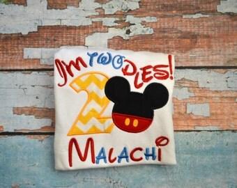 I'm twodles Boys Mickey Mouse birthday Shirt, Boys Disney Shirt, Boys Birthday Shirt