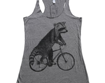 Raccoon on a Bicycle - Womens Tank top, Ladies Tank top, Tri Blend Tank, Handmade graphic tee, sizes s-xL