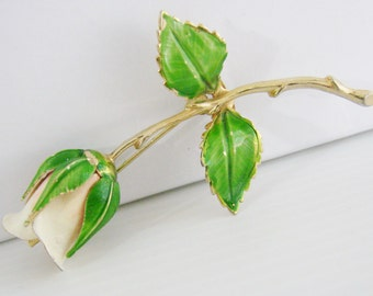 Vintage Giovanni gold bud rose brooch with pink, white and green enamel (G5)