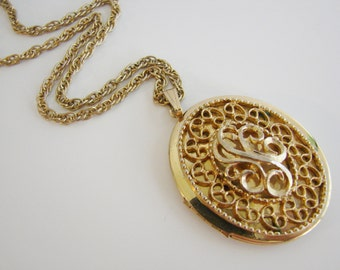 Vintage long gold locket with nouveau style detail (J1)