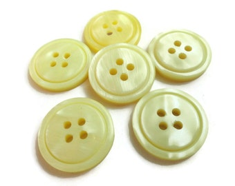 Lemon Yellow Vintage Buttons - 6 Plastic Four Hole Sew Through 3/4 inch 19mm for Sewing Knitting Jewelry Beads Coat Buttons