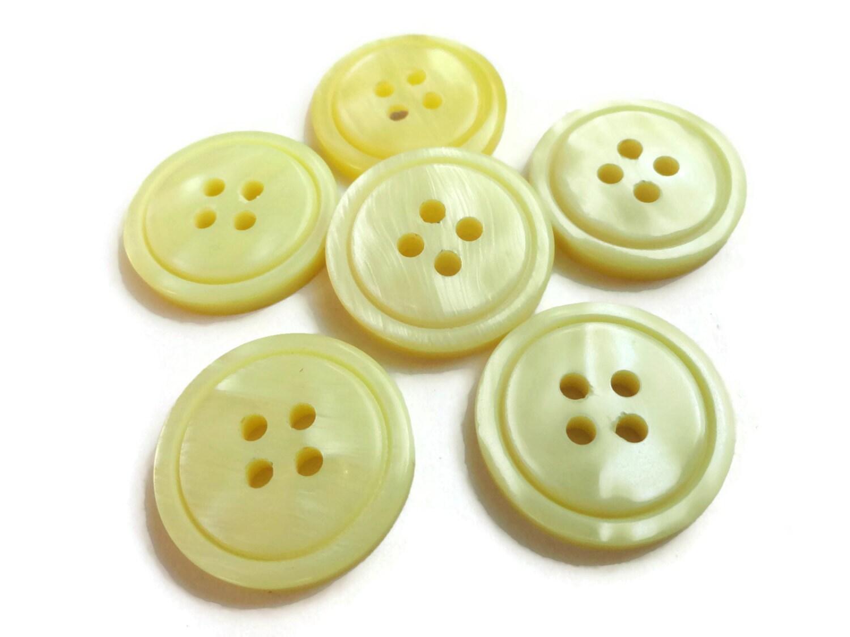 Lemon yellow vintage buttons 6 plastic four hole sew through for Lemon button