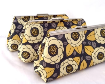 Bridesmaids Gift Clutch Set of (3) Yellow and Gray Handbags for Bridesmaids Custom design your own set in Linen for Bridal party gift