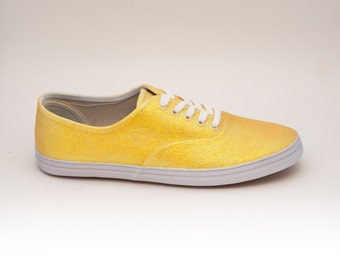 Lemon Drop Yellow Iris Glitter CVO Canvas Sneakers Shoes