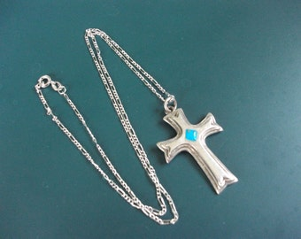 Vintage Sterling Silver 925 Turquoise Cross Pendant Necklace Chain