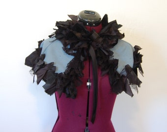 Blue and black tattered and frayed fabric Goth Victorian night circus steampunk ruffle wrap mini cape collar