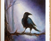 Crow, Raven, Fine Art Print Greeting Card Signed by Marina Petro