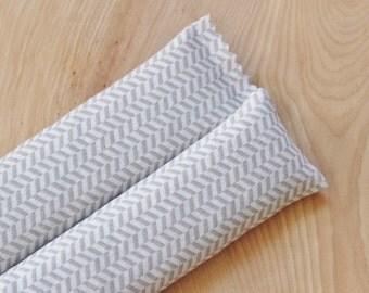 Organic Lavender Sleep Sachets, Grey Herringbone Cotton Anniversary Gift for Her, Natural Living Gifts For Women