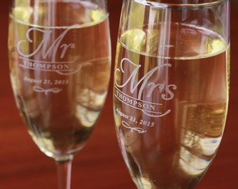 Personalized Champagne Flute - Wedding Champagne Flute - Toasting Flutes - Champagne Flutes - Champagne Glasses - Engraved