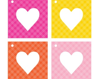 Gift Tags  //  Happy Hearts  //  Gift Wrap  //  Packaging  //  Yellow, Orange, Pink